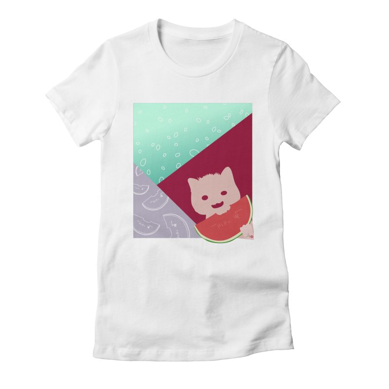 Watermelon Cat in Women's Fitted T-Shirt White by Designs by Billy Wan