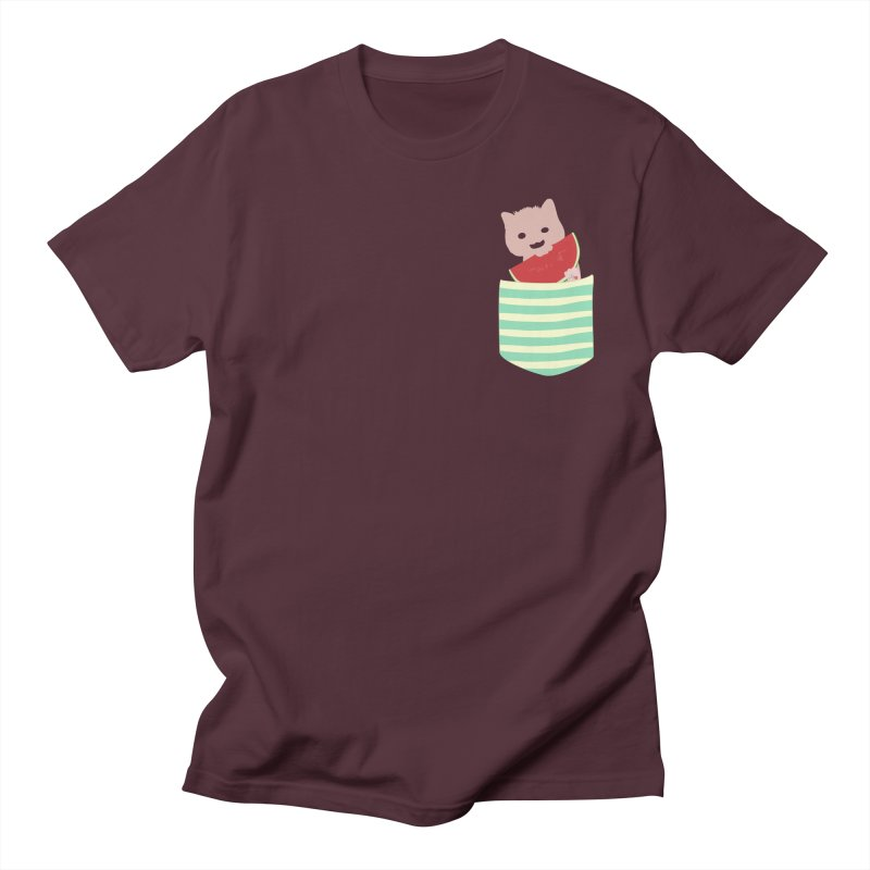 Watermelon Cat in Pocket in Men's Regular T-Shirt Maroon by Designs by Billy Wan