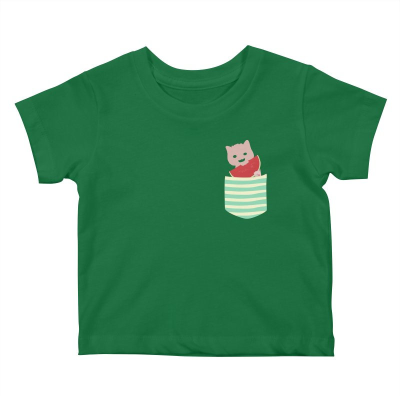 Watermelon Cat in Pocket Kids Baby T-Shirt by Designs by Billy Wan