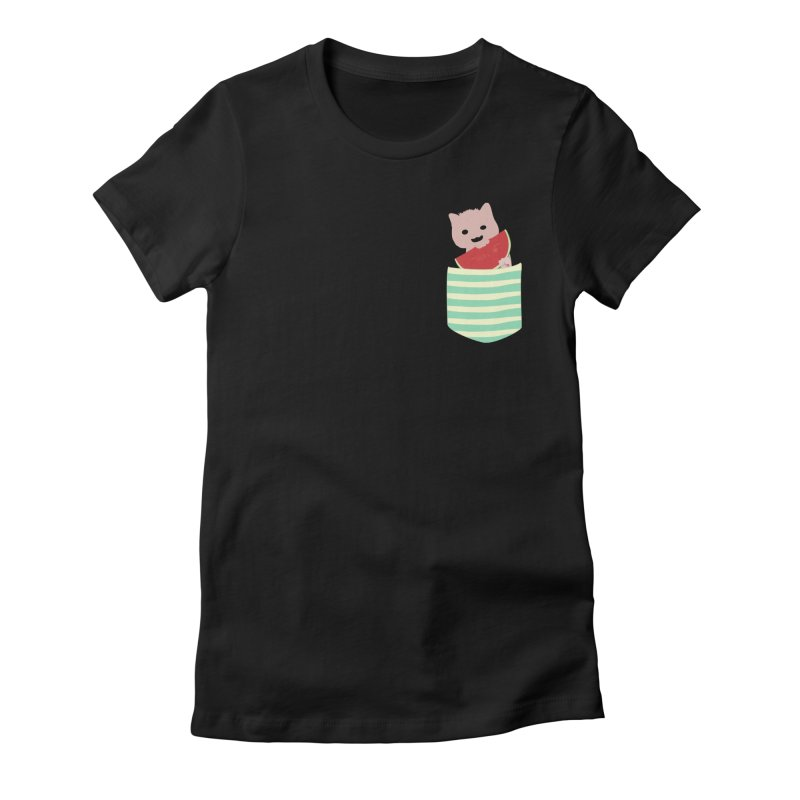 Watermelon Cat in Pocket in Women's Fitted T-Shirt Black by Designs by Billy Wan