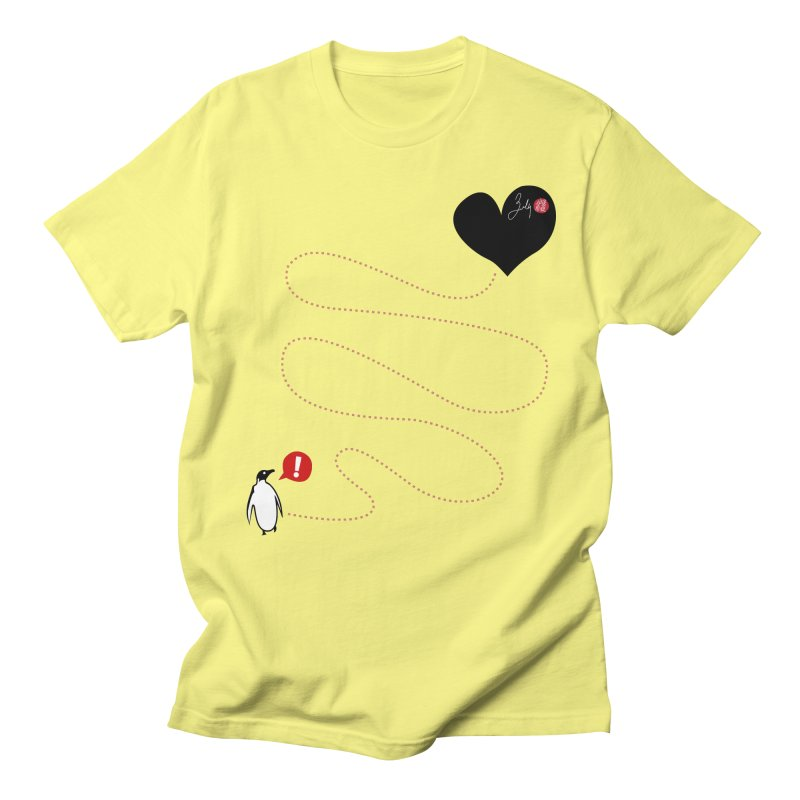 The Lost Penguin From Your Heart in Men's Regular T-Shirt Lemon by Designs by Billy Wan
