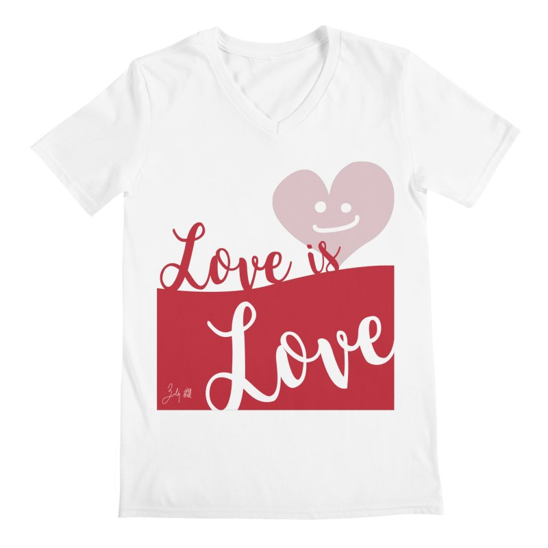 Love is Love in Men's Regular V-Neck White by Designs by Billy Wan