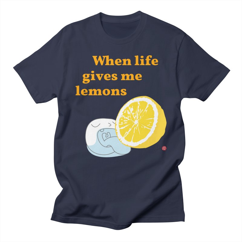 When Life Gives Me Lemons in Men's Regular T-Shirt Navy by Designs by Billy Wan