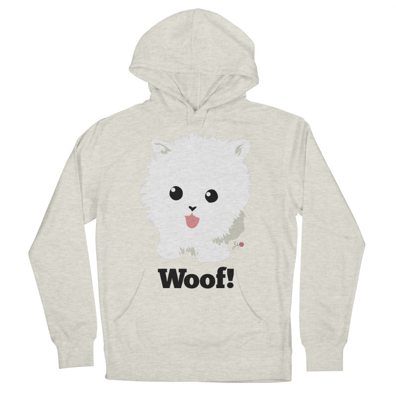 Pomeranian Poof Ball Dog Men's French Terry Pullover Hoody by Designs by Billy Wan