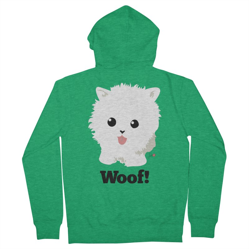 Pomeranian Poof Ball Dog Men's Zip-Up Hoody by Designs by Billy Wan