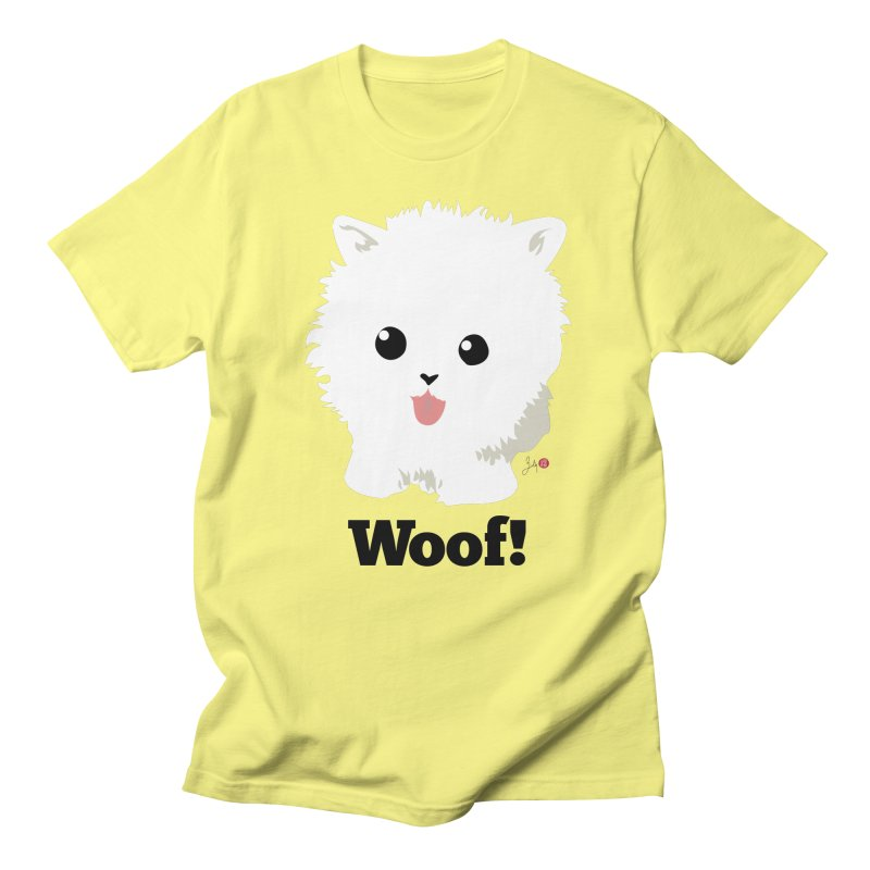 Pomeranian Poof Ball Dog in Men's Regular T-Shirt Lemon by Designs by Billy Wan