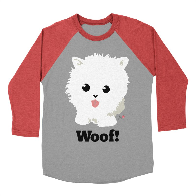 Pomeranian Poof Ball Dog Men's Baseball Triblend Longsleeve T-Shirt by Designs by Billy Wan