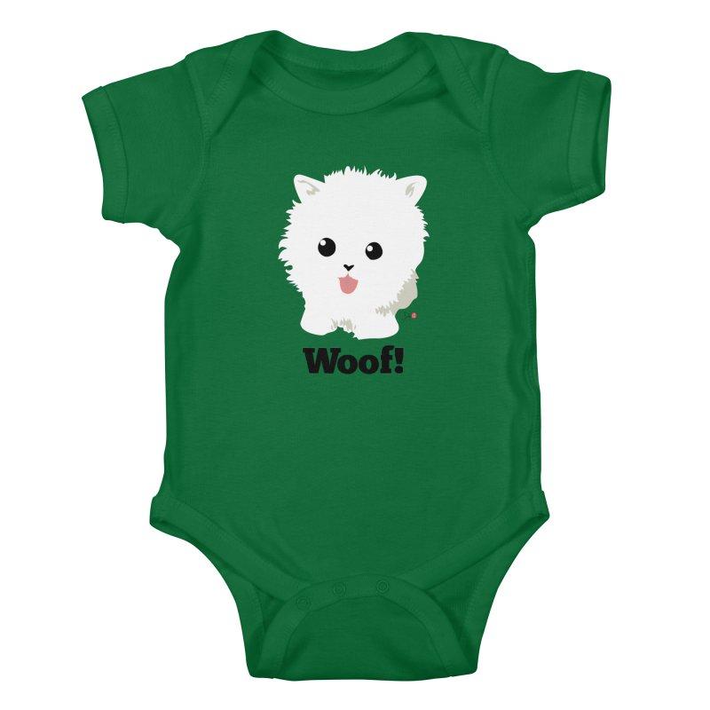 Pomeranian Poof Ball Dog Kids Baby Bodysuit by Designs by Billy Wan