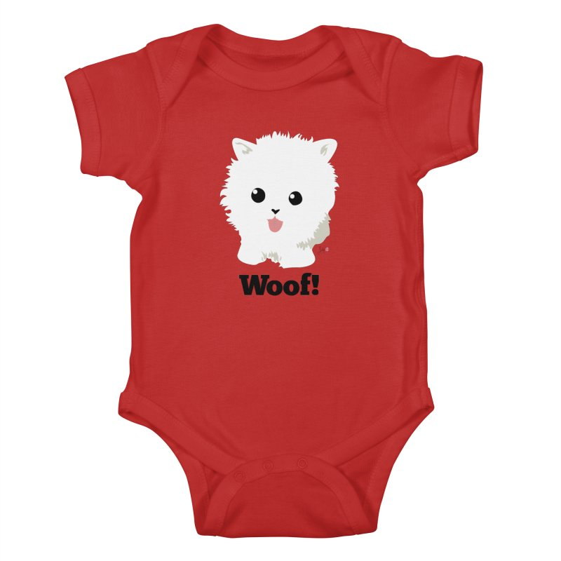 Pomeranian Poof Ball Dog Kids Baby Bodysuit by Designs by Billy Wan