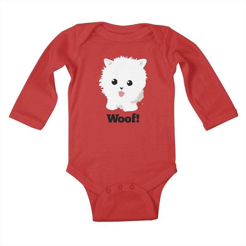 Pomeranian Poof Ball Dog Kids Baby Longsleeve Bodysuit by Designs by Billy Wan