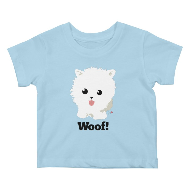Pomeranian Poof Ball Dog Kids Baby T-Shirt by Designs by Billy Wan