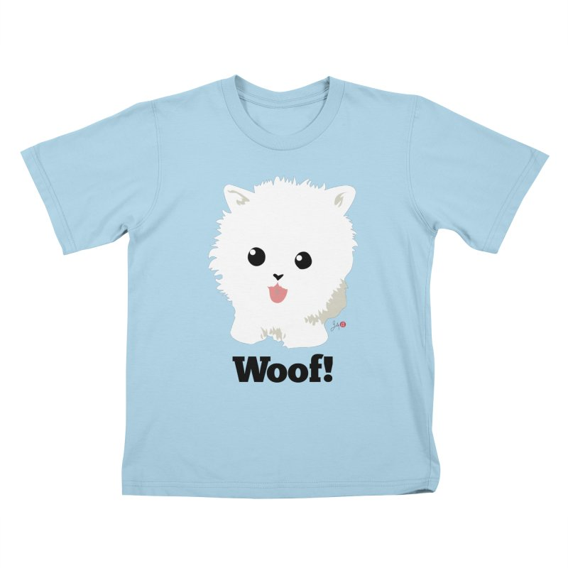 Pomeranian Poof Ball Dog Kids T-Shirt by Designs by Billy Wan