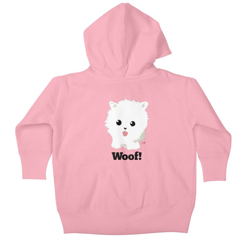 Pomeranian Poof Ball Dog Kids Baby Zip-Up Hoody by Designs by Billy Wan