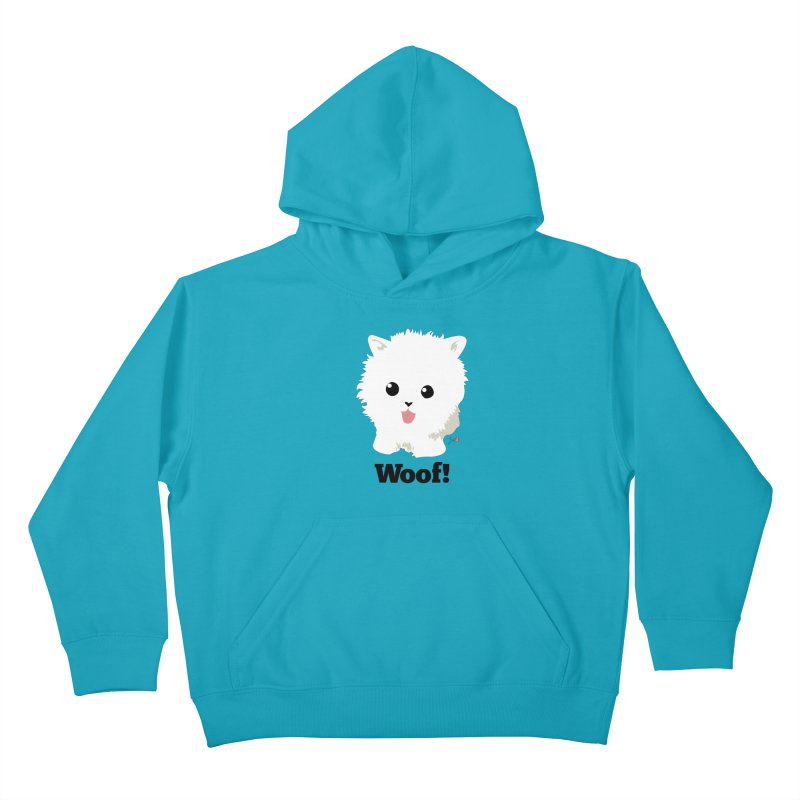 Pomeranian Poof Ball Dog Kids Pullover Hoody by Designs by Billy Wan
