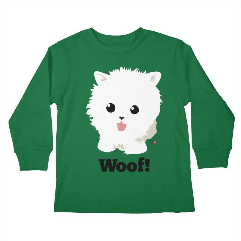 Pomeranian Poof Ball Dog Kids Longsleeve T-Shirt by Designs by Billy Wan