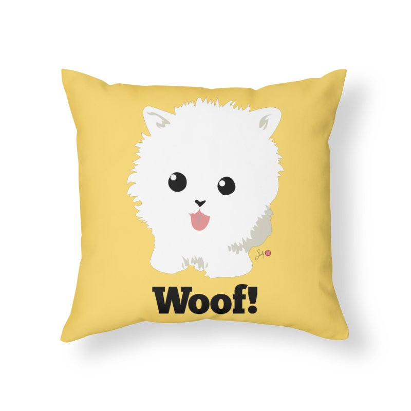 Pomeranian Poof Ball Dog in Throw Pillow by Designs by Billy Wan