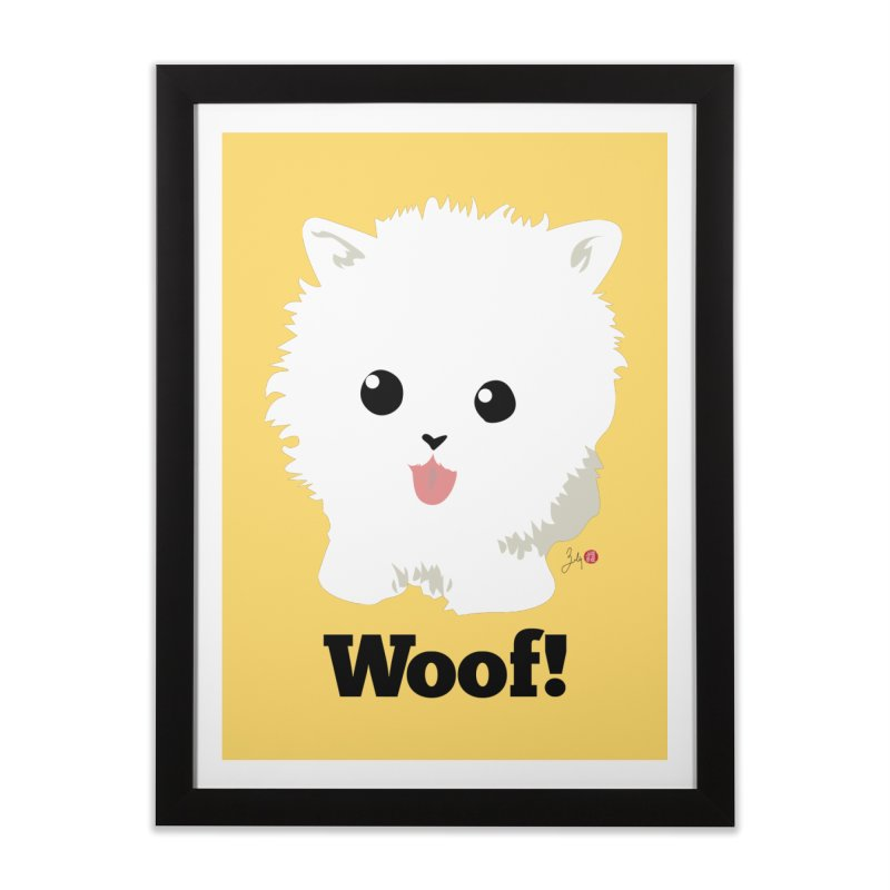 Pomeranian Poof Ball Dog Home Framed Fine Art Print by Designs by Billy Wan