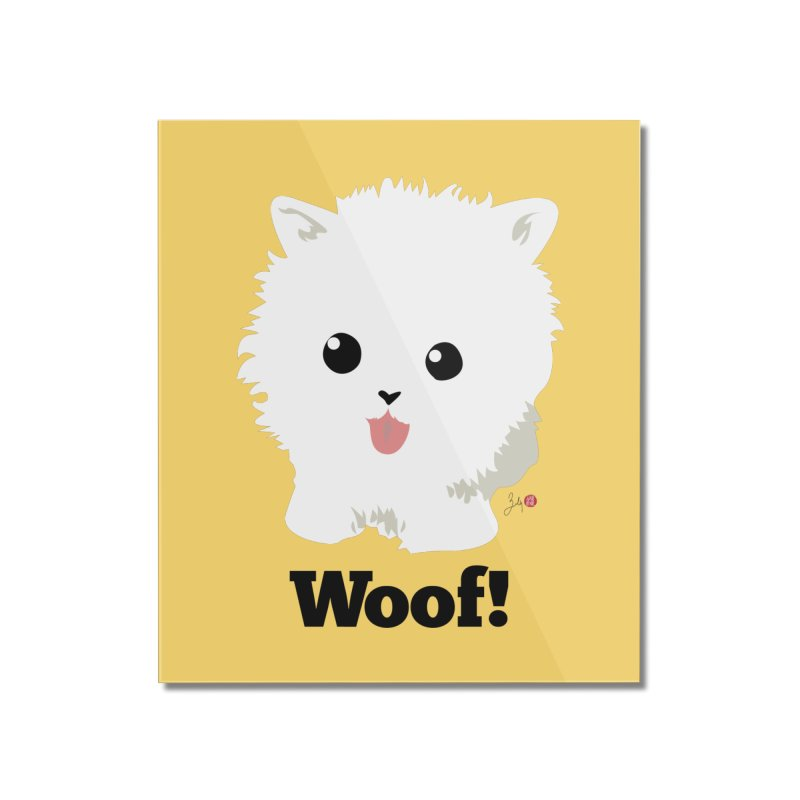 Pomeranian Poof Ball Dog Home Mounted Acrylic Print by Designs by Billy Wan