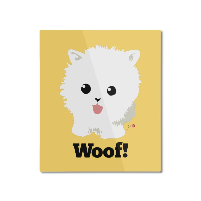 Pomeranian Poof Ball Dog Home Mounted Aluminum Print by Designs by Billy Wan