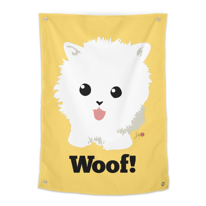 Pomeranian Poof Ball Dog Home Tapestry by Designs by Billy Wan