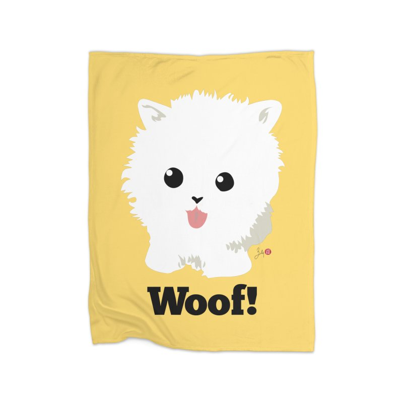 Pomeranian Poof Ball Dog Home Fleece Blanket Blanket by Designs by Billy Wan