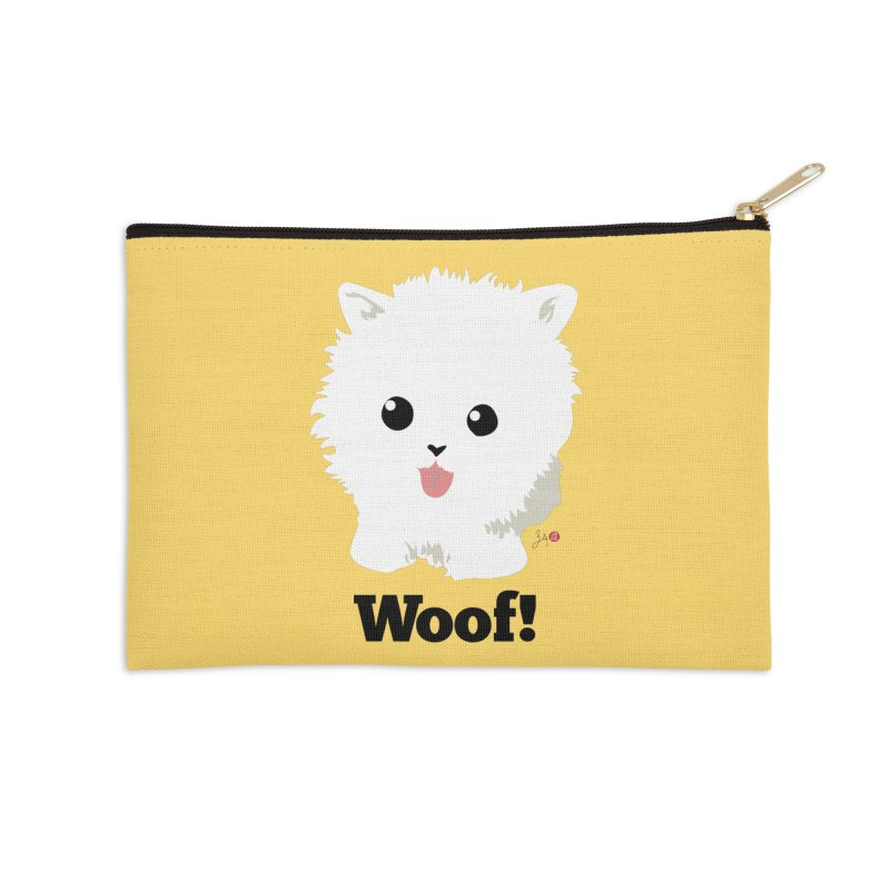 Pomeranian Poof Ball Dog Accessories Zip Pouch by Designs by Billy Wan