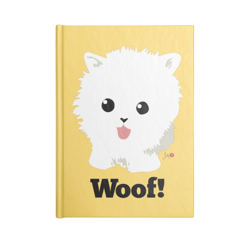 Pomeranian Poof Ball Dog Accessories Notebook by Designs by Billy Wan