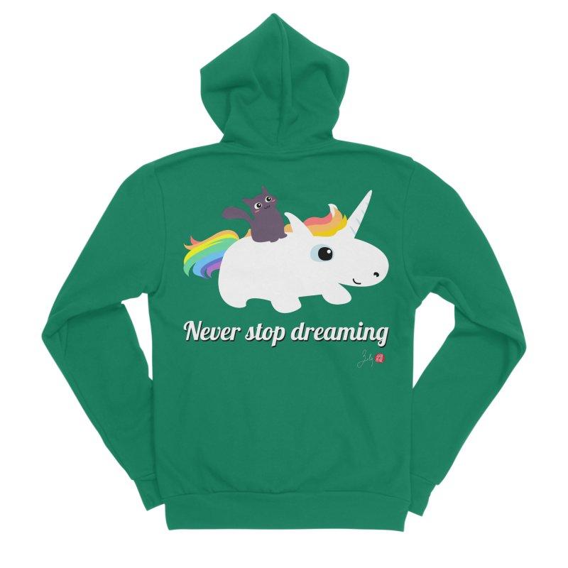 Never Stop Dreaming Men's Sponge Fleece Zip-Up Hoody by Designs by Billy Wan