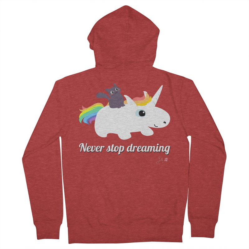 Never Stop Dreaming Men's French Terry Zip-Up Hoody by Designs by Billy Wan