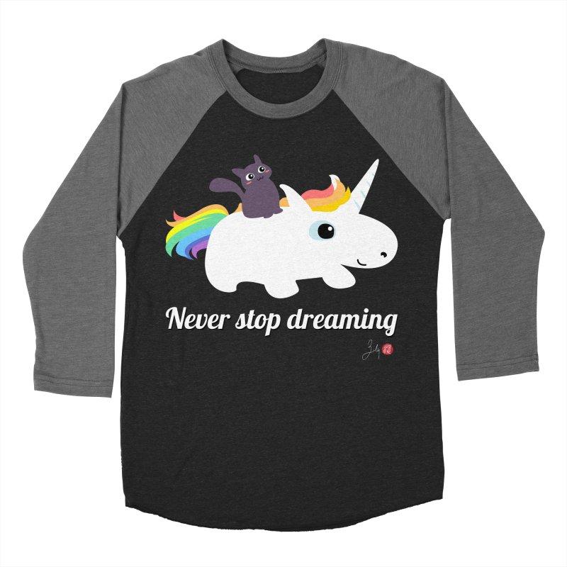 Never Stop Dreaming Women's Baseball Triblend Longsleeve T-Shirt by Designs by Billy Wan