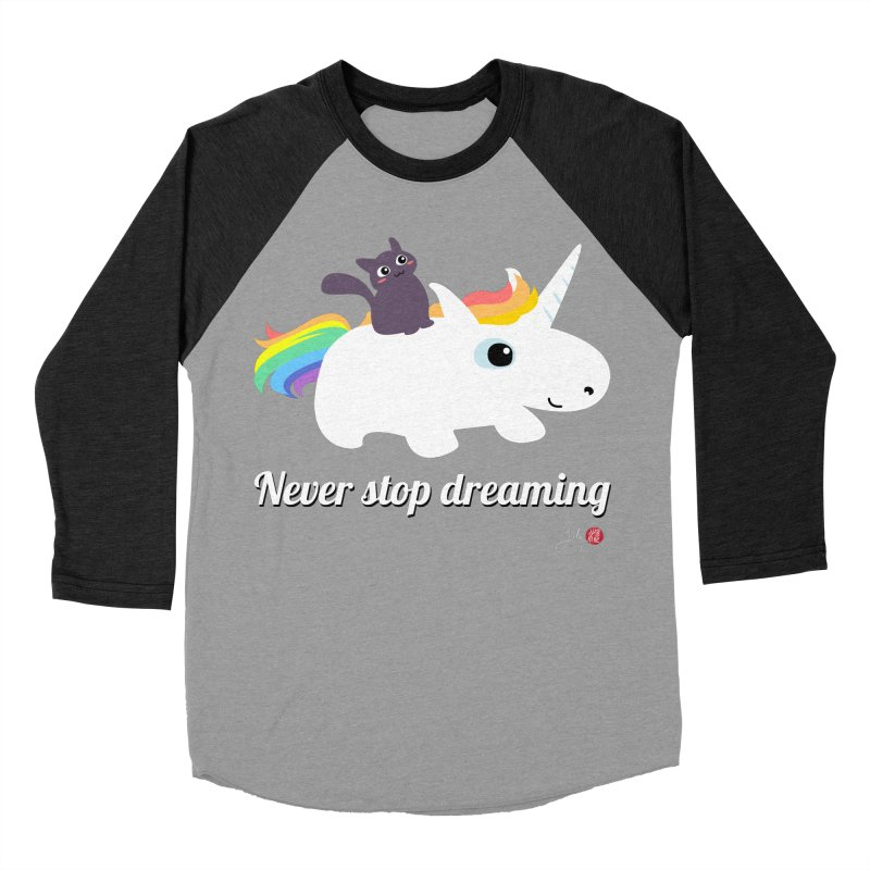 Never Stop Dreaming Women's Baseball Triblend Longsleeve T-Shirt by Designs by Billy Wan