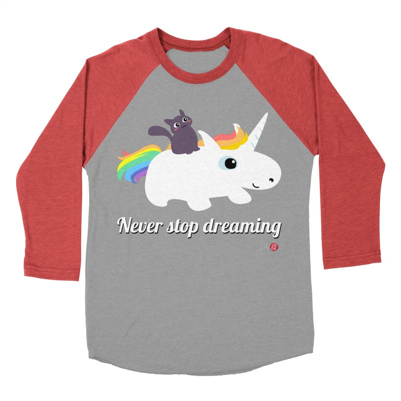 Never Stop Dreaming Men's Baseball Triblend Longsleeve T-Shirt by Designs by Billy Wan