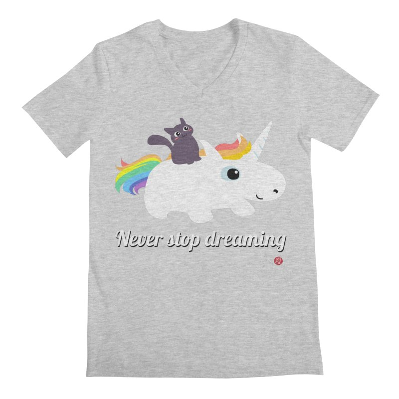 Never Stop Dreaming Men's Regular V-Neck by Designs by Billy Wan