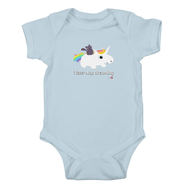 Never Stop Dreaming Kids Baby Bodysuit by Designs by Billy Wan