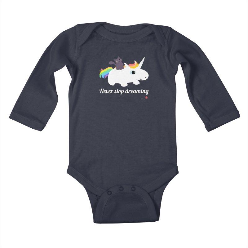 Never Stop Dreaming Kids Baby Longsleeve Bodysuit by Designs by Billy Wan