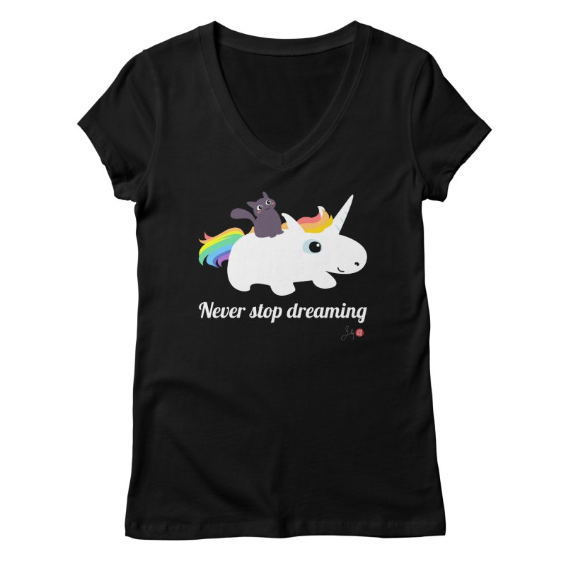Never Stop Dreaming Women's V-Neck by Designs by Billy Wan