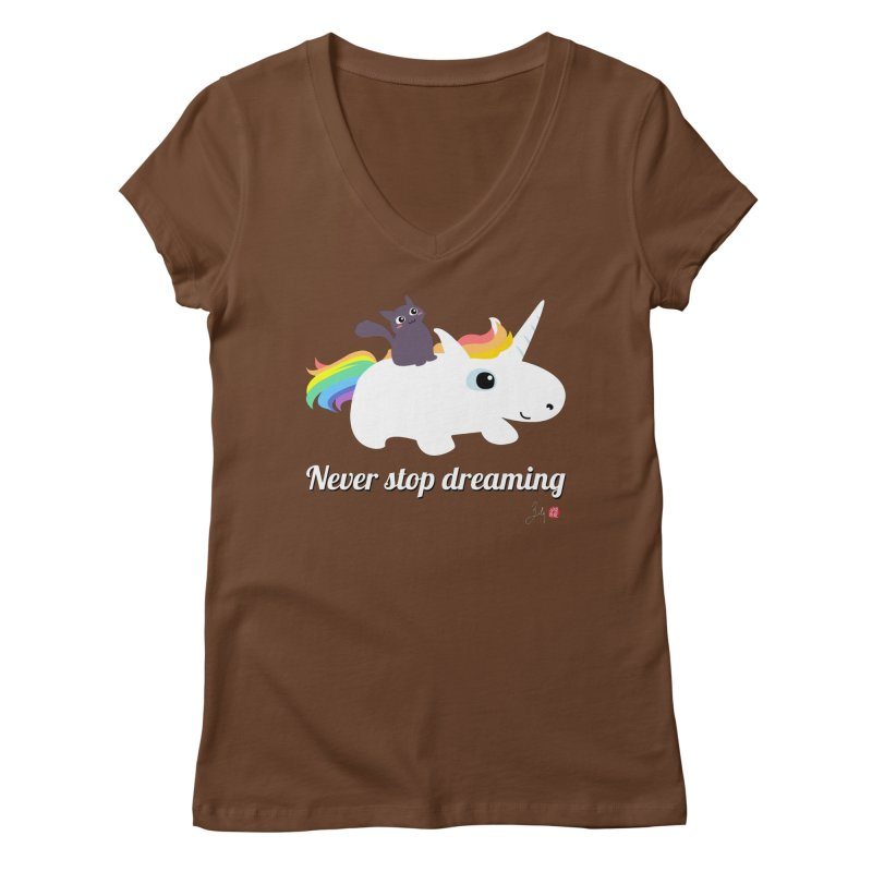 Never Stop Dreaming Women's Regular V-Neck by Designs by Billy Wan