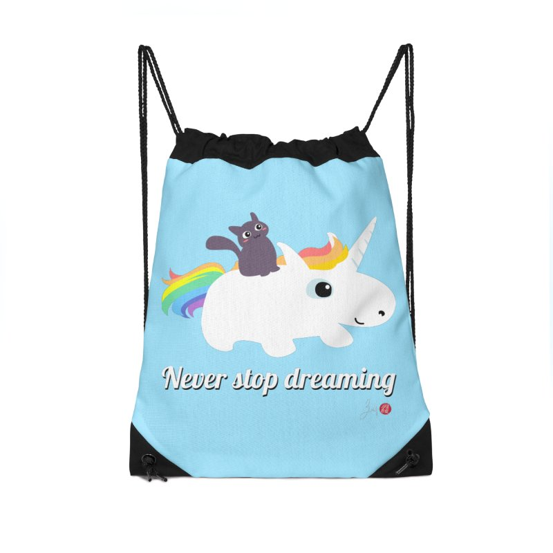 Never Stop Dreaming Accessories Drawstring Bag Bag by Designs by Billy Wan