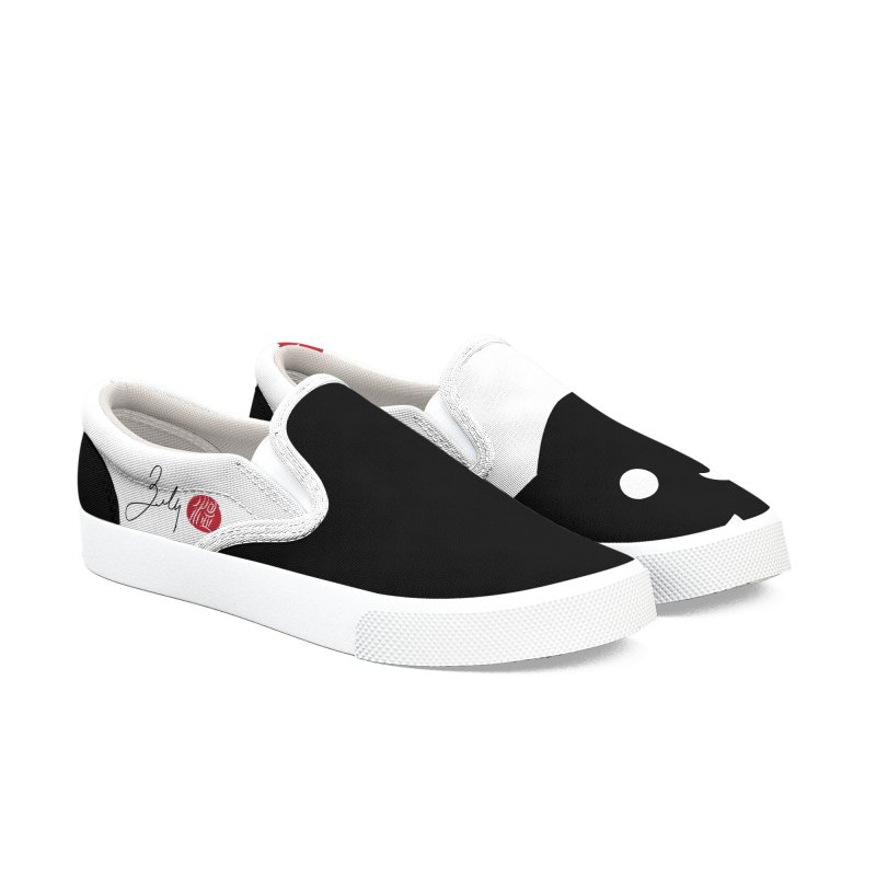 Cat Love With Hearts (Small) Women's Slip-On Shoes by Designs by Billy Wan