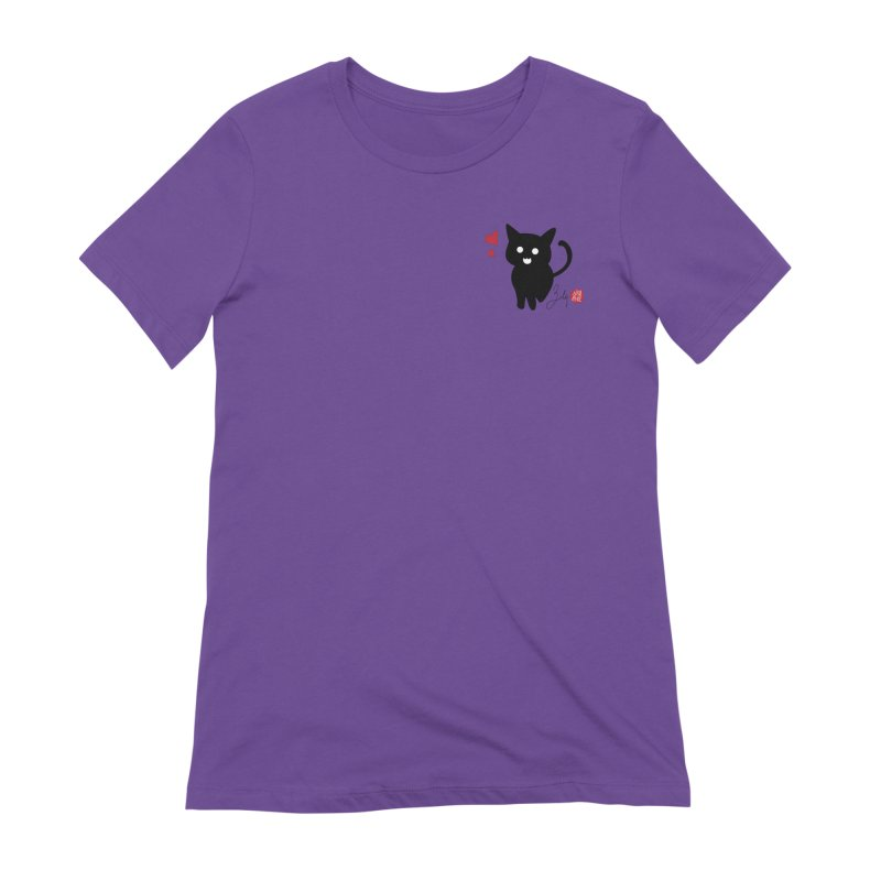 Cat Love With Hearts (Small) Women's Extra Soft T-Shirt by Designs by Billy Wan