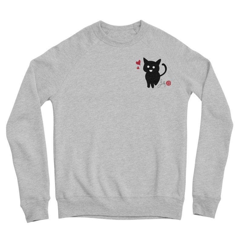 Cat Love With Hearts (Small) Men's Sponge Fleece Sweatshirt by Designs by Billy Wan