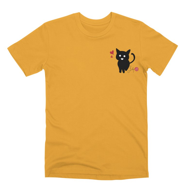 Cat Love With Hearts (Small) Men's Premium T-Shirt by Designs by Billy Wan