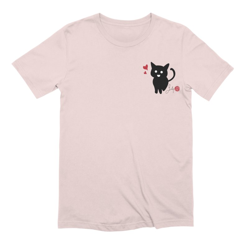 Cat Love With Hearts (Small) Men's Extra Soft T-Shirt by Designs by Billy Wan