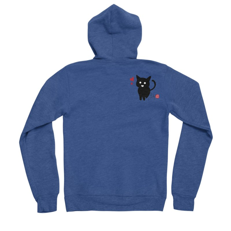Cat Love With Hearts (Small) Men's Sponge Fleece Zip-Up Hoody by Designs by Billy Wan