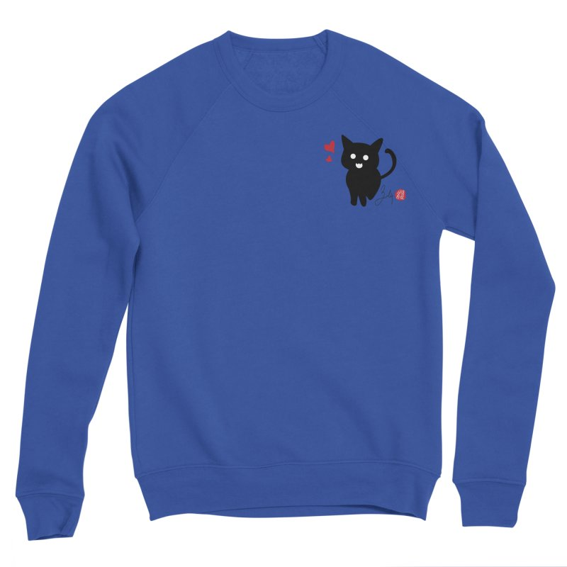 Cat Love With Hearts (Small) Men's Sponge Fleece Sweatshirt by Designs by Billy Wan