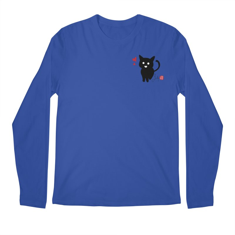 Cat Love With Hearts (Small) Men's Longsleeve T-Shirt by Designs by Billy Wan