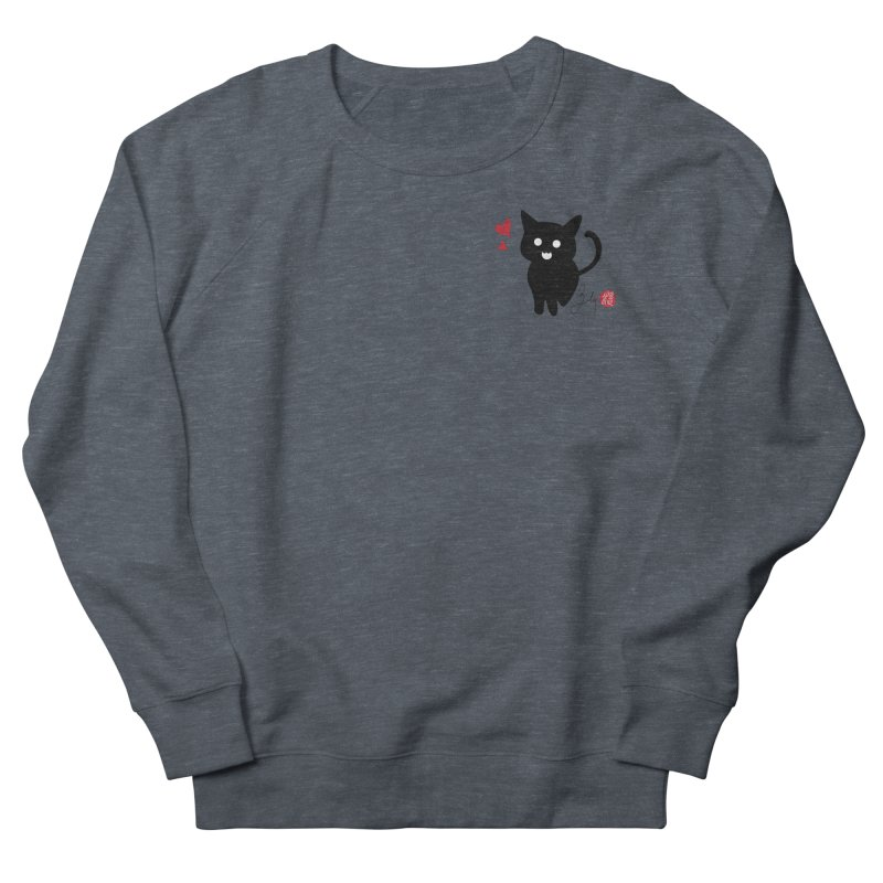 Cat Love With Hearts (Small) Men's French Terry Sweatshirt by Designs by Billy Wan
