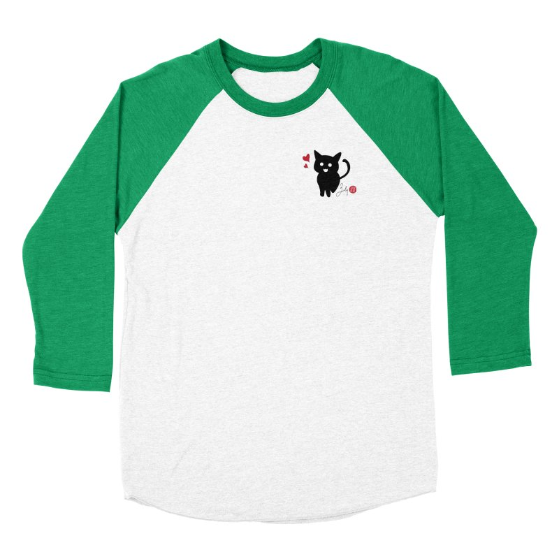 Cat Love With Hearts (Small) Men's Baseball Triblend Longsleeve T-Shirt by Designs by Billy Wan