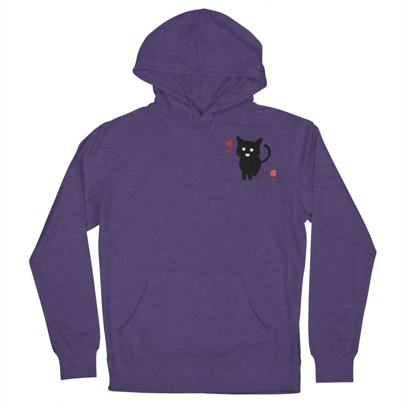 Cat Love With Hearts (Small) Men's French Terry Pullover Hoody by Designs by Billy Wan