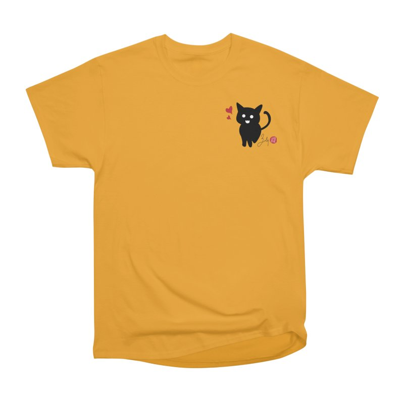 Cat Love With Hearts (Small) Women's Heavyweight Unisex T-Shirt by Designs by Billy Wan